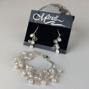 Mariell Crystal Pearl Drop Earrings & Bracelet
